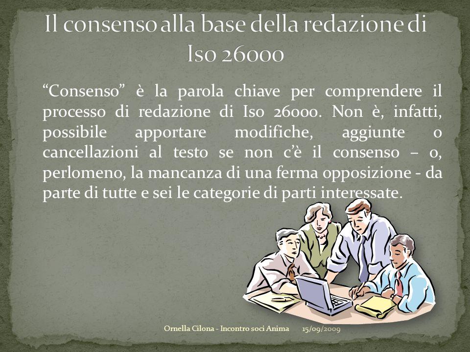 Consenso è la parola chiave per comprendere il processo di redazione di Iso 26000. Non è, infatti, possibile apportare modifiche, aggiunte o cancellaz