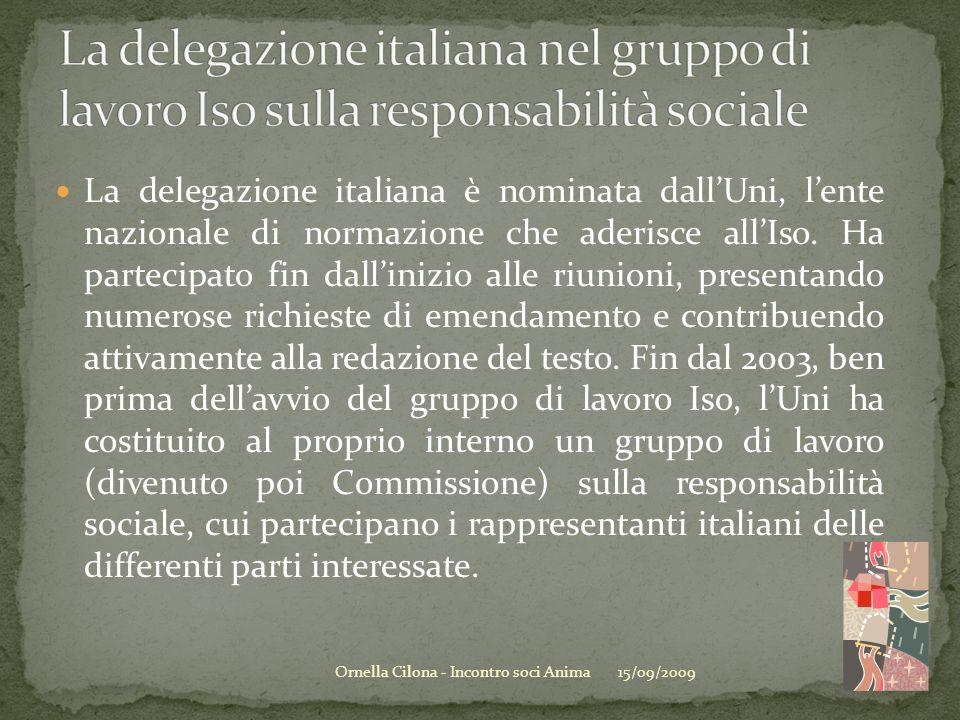 15/09/2009Ornella Cilona - Incontro soci Anima La delegazione italiana è nominata dallUni, lente nazionale di normazione che aderisce allIso. Ha parte