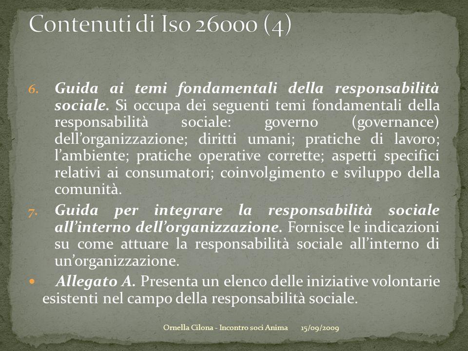6. Guida ai temi fondamentali della responsabilità sociale. Si occupa dei seguenti temi fondamentali della responsabilità sociale: governo (governance