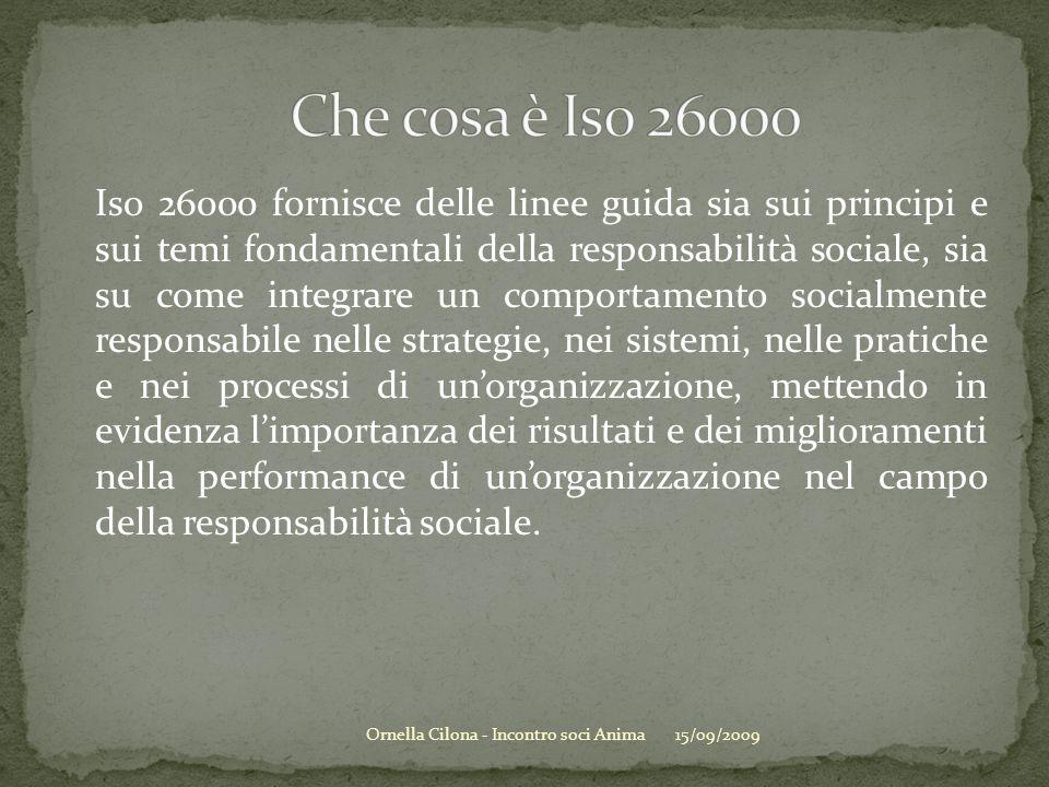 Iso 26000 fornisce delle linee guida sia sui principi e sui temi fondamentali della responsabilità sociale, sia su come integrare un comportamento soc