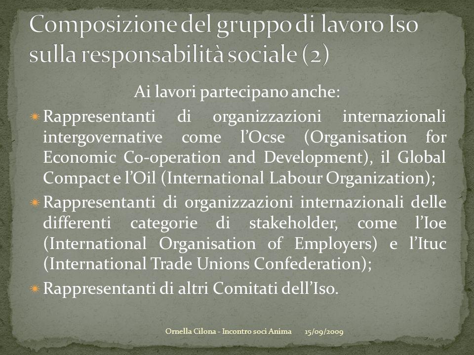 Ai lavori partecipano anche: Rappresentanti di organizzazioni internazionali intergovernative come lOcse (Organisation for Economic Co-operation and D