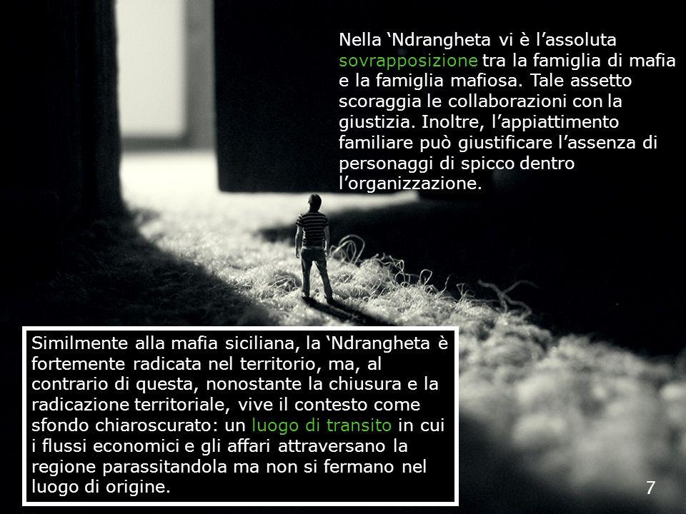 7 Nella Ndrangheta vi è lassoluta sovrapposizione tra la famiglia di mafia e la famiglia mafiosa. Tale assetto scoraggia le collaborazioni con la gius