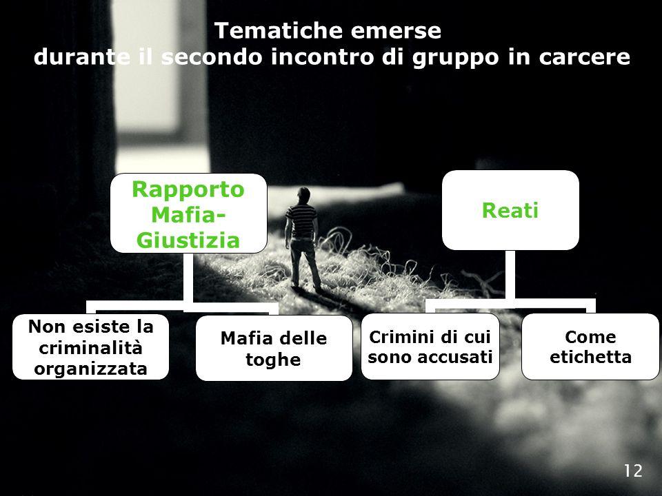 12 Rapporto Mafia- Giustizia Non esiste la criminalità organizzata Mafia delle toghe Reati Crimini di cui sono accusati Come etichetta Tematiche emers