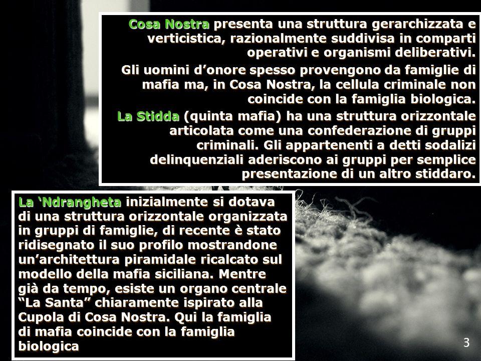 Cosa Nostra presenta una struttura gerarchizzata e verticistica, razionalmente suddivisa in comparti operativi e organismi deliberativi. Gli uomini do