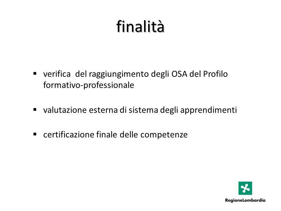 finalità verifica del raggiungimento degli OSA del Profilo formativo-professionale valutazione esterna di sistema degli apprendimenti certificazione finale delle competenze