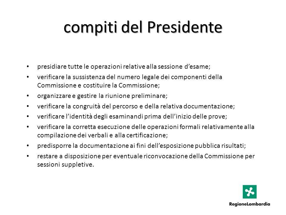 compiti del Presidente presidiare tutte le operazioni relative alla sessione desame; verificare la sussistenza del numero legale dei componenti della