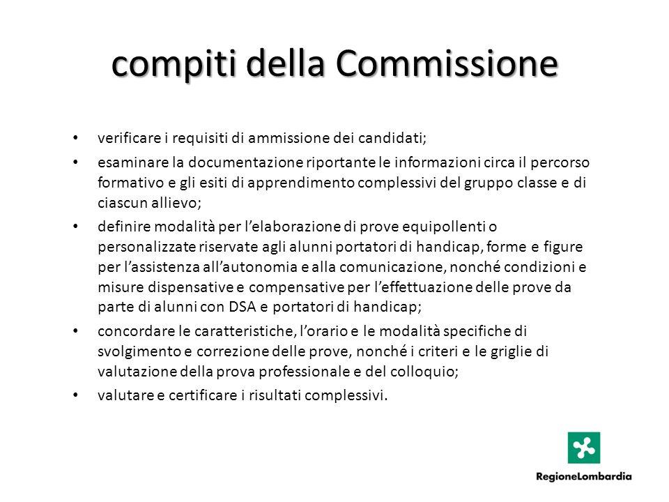 compiti della Commissione verificare i requisiti di ammissione dei candidati; esaminare la documentazione riportante le informazioni circa il percorso