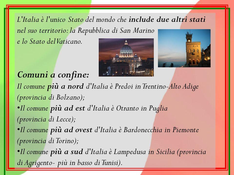 L Italia è l unico Stato del mondo che include due altri stati nel suo territorio: la Repubblica di San Marino e lo Stato del Vaticano.