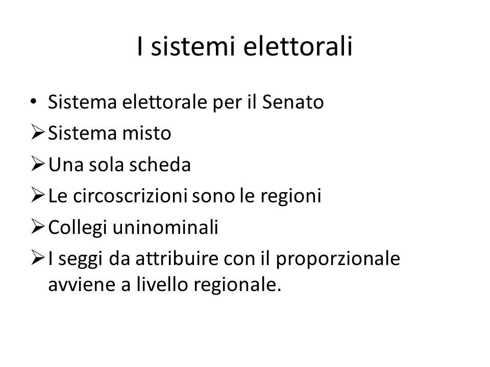 Sistema elettorale per il Senato Sistema misto Una sola scheda Le circoscrizioni sono le regioni Collegi uninominali I seggi da attribuire con il prop