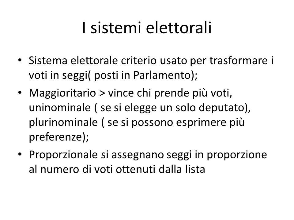 I sistemi elettorali Sistema elettorale criterio usato per trasformare i voti in seggi( posti in Parlamento); Maggioritario > vince chi prende più vot