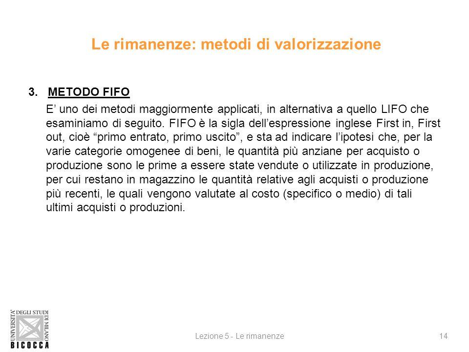 3. METODO FIFO E uno dei metodi maggiormente applicati, in alternativa a quello LIFO che esaminiamo di seguito. FIFO è la sigla dellespressione ingles