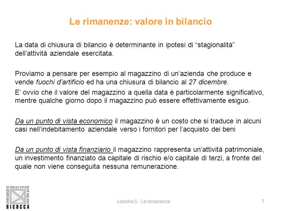 Le rimanenze: valore in bilancio La data di chiusura di bilancio è determinante in ipotesi di stagionalità dellattività aziendale esercitata.