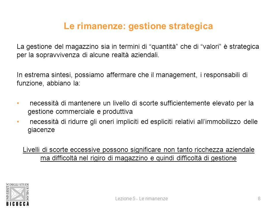 Le rimanenze: gestione strategica La gestione del magazzino sia in termini di quantità che di valori è strategica per la sopravvivenza di alcune realtà aziendali.