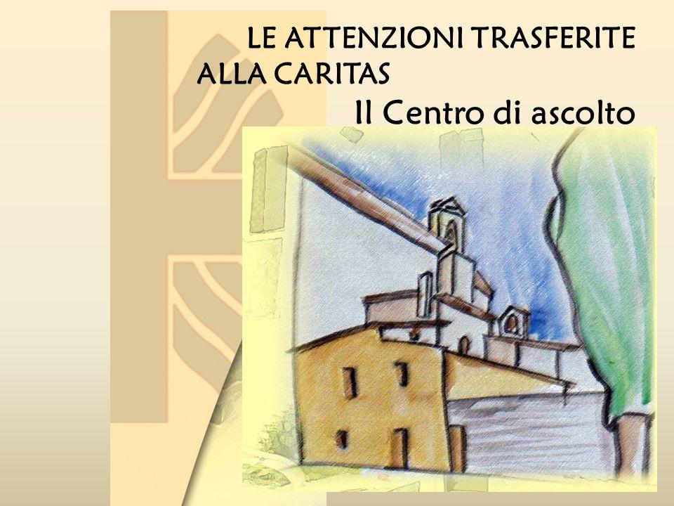LE ATTENZIONI TRASFERITE ALLA CARITAS Il Centro di ascolto