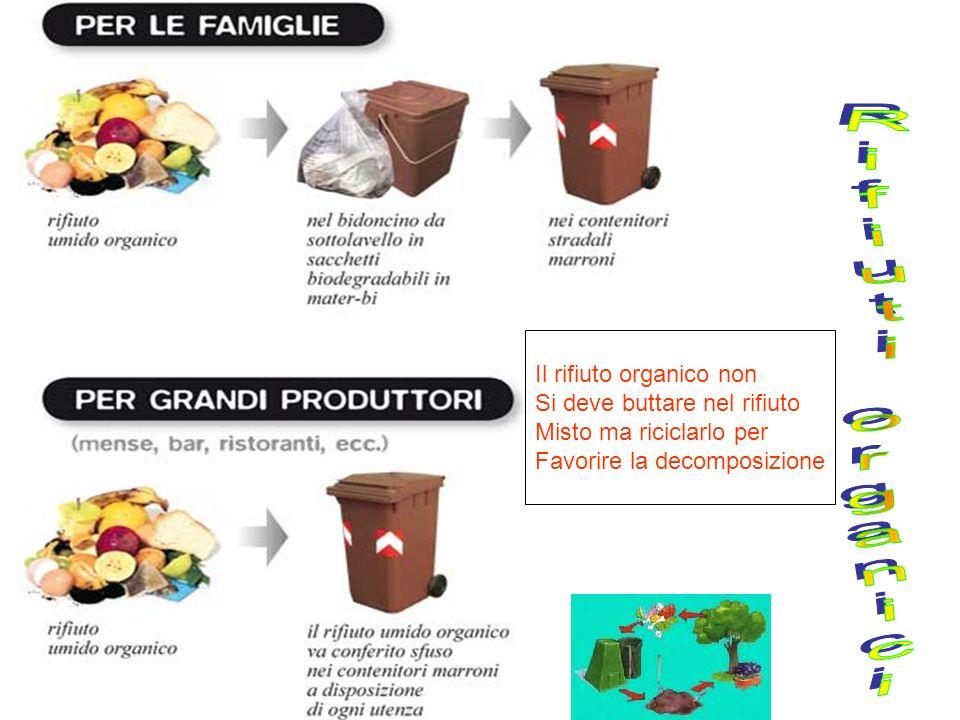 Il rifiuto organico non Si deve buttare nel rifiuto Misto ma riciclarlo per Favorire la decomposizione
