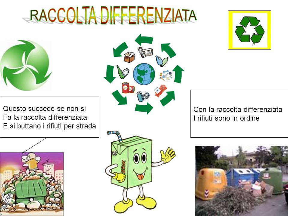 Con la raccolta differenziata I rifiuti sono in ordine Questo succede se non si Fa la raccolta differenziata E si buttano i rifiuti per strada