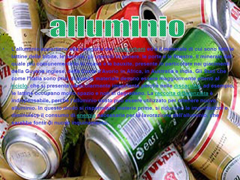 L'alluminio appartiene alla categoria dei rifiuti urbani ed è il materiale di cui sono fatti le lattine delle bibite, le pentole, gli utensili in gene