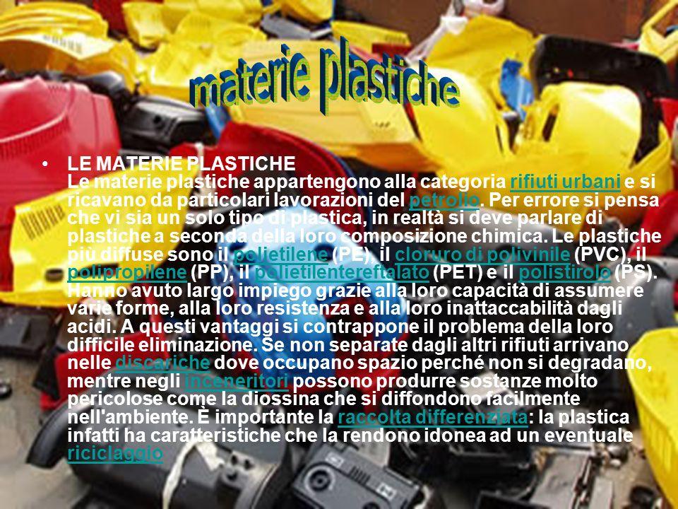 LE MATERIE PLASTICHE Le materie plastiche appartengono alla categoria rifiuti urbani e si ricavano da particolari lavorazioni del petrolio. Per errore