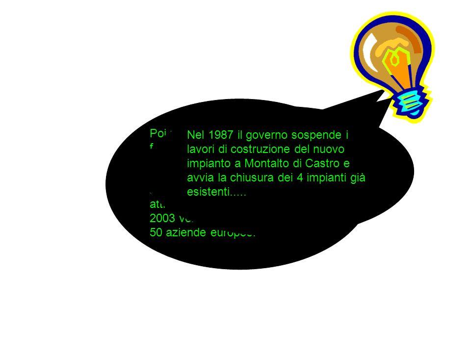 Poi nell anno 1999, che è stato fondamentale nella storia dell Enel, il decreto Bersani ha stabilito la liberalizzazione con la separazione societaria