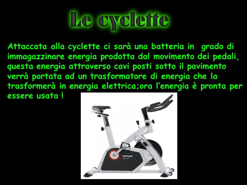 Attaccata alla cyclette ci sarà una batteria in grado di immagazzinare energia prodotta dal movimento dei pedali, questa energia attraverso cavi posti