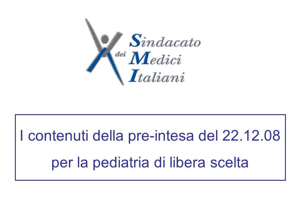 I contenuti della pre-intesa del 22.12.08 per la pediatria di libera scelta