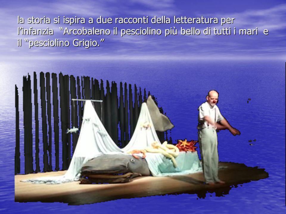 la storia si ispira a due racconti della letteratura per linfanzia Arcobaleno il pesciolino più bello di tutti i mari e il pesciolino Grigio.