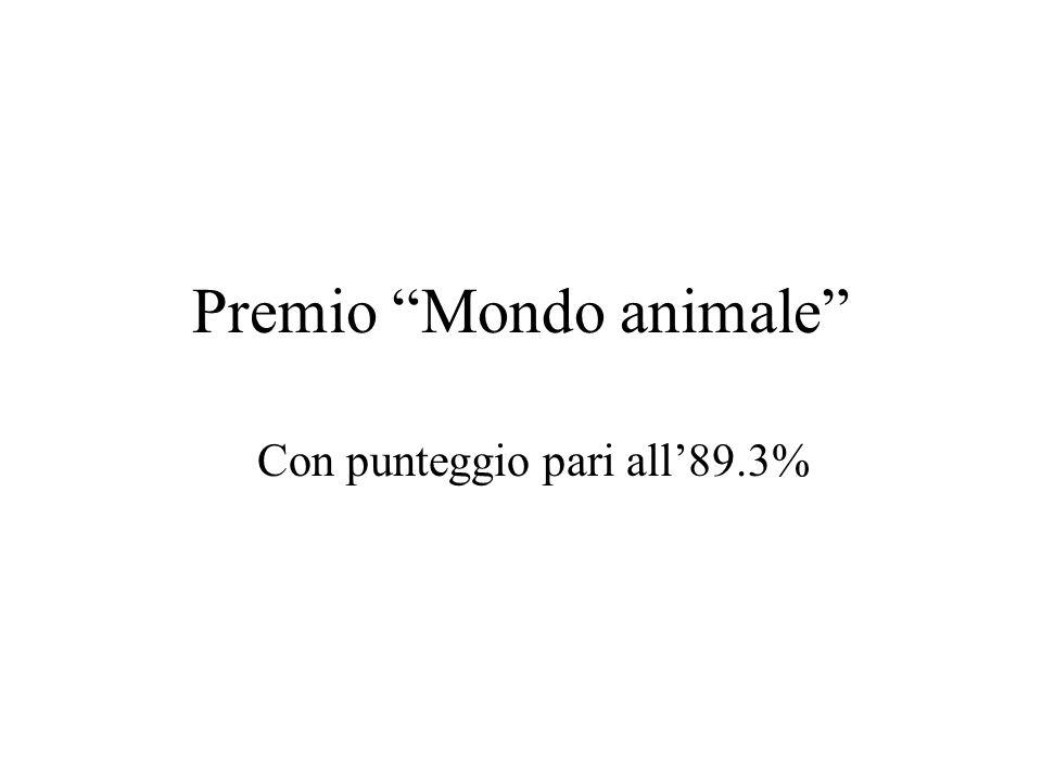 Premio Mondo animale Con punteggio pari all89.3%