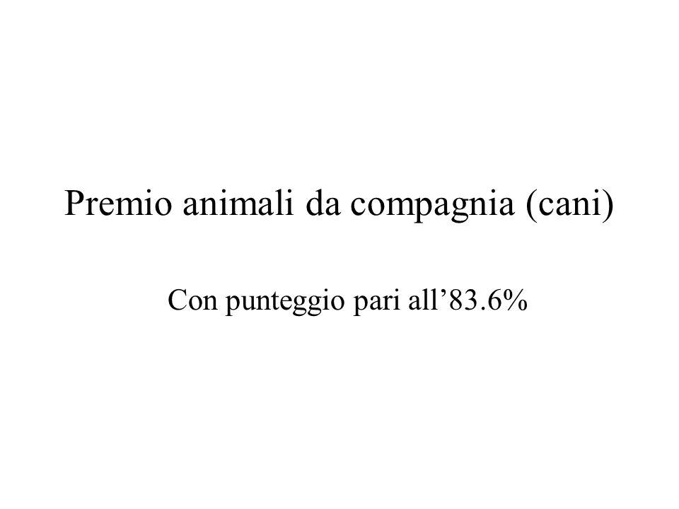 Premio animali da compagnia (cani) Con punteggio pari all83.6%