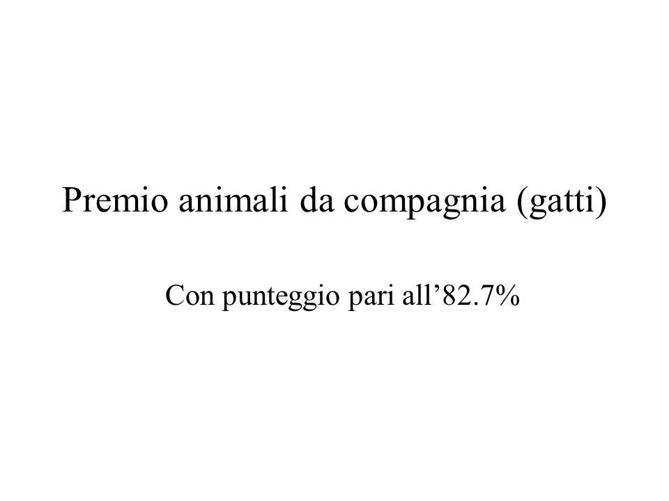 Premio animali da compagnia (gatti) Con punteggio pari all82.7%