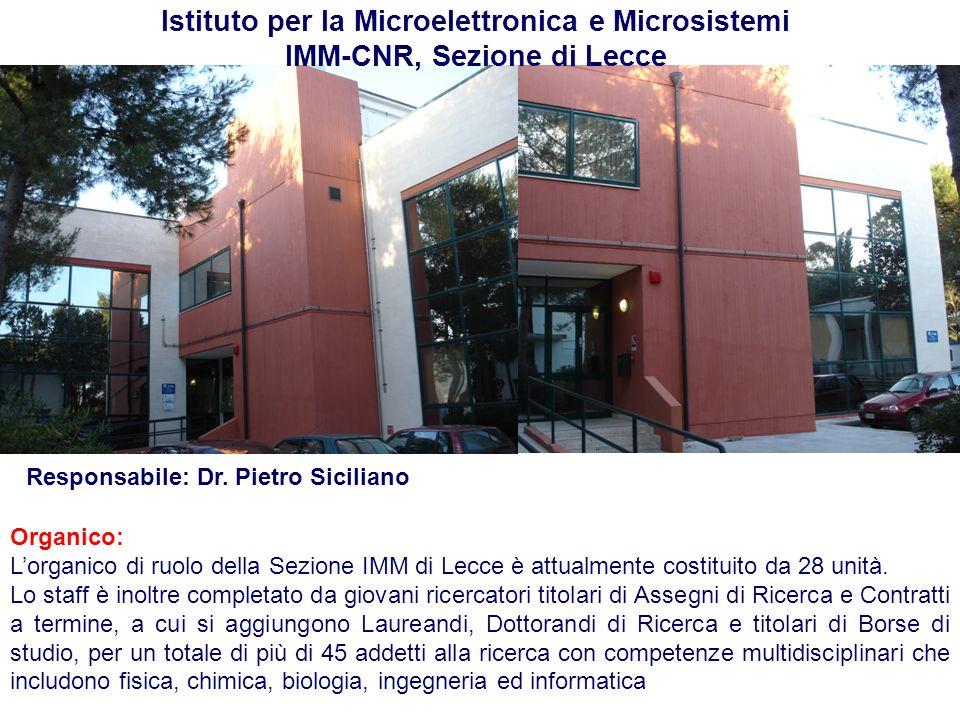 Istituto per la Microelettronica e Microsistemi IMM-CNR, Sezione di Lecce Organico: Lorganico di ruolo della Sezione IMM di Lecce è attualmente costit