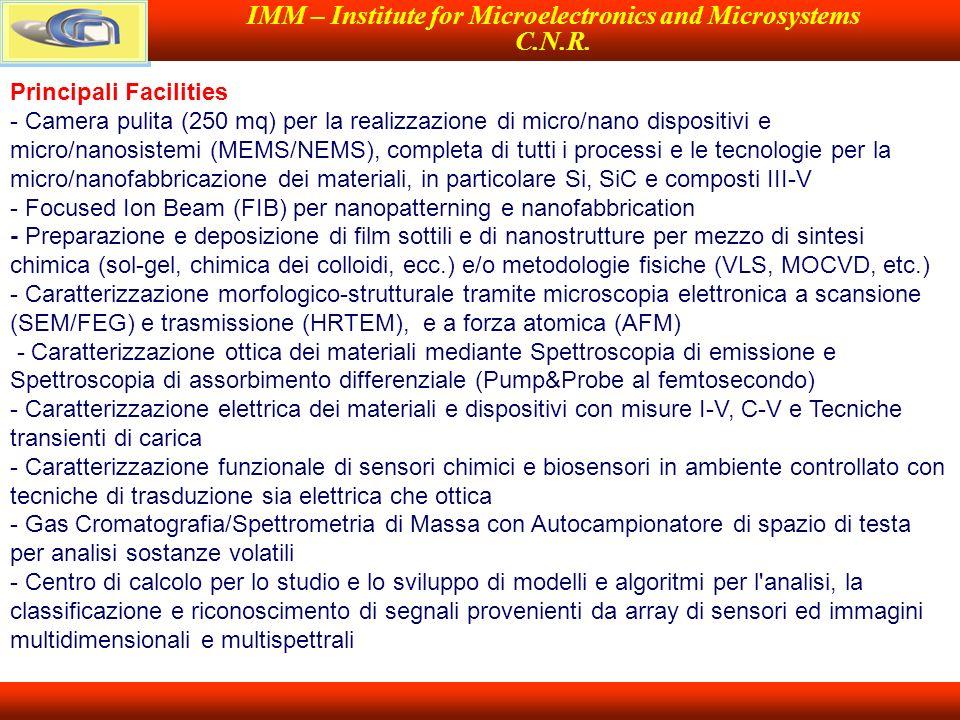 IMM – Institute for Microelectronics and Microsystems C.N.R. Principali Facilities - Camera pulita (250 mq) per la realizzazione di micro/nano disposi