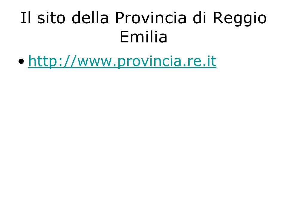 Il sito della Provincia di Reggio Emilia http://www.provincia.re.it