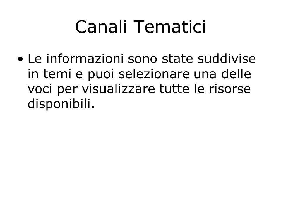 Canali Tematici Le informazioni sono state suddivise in temi e puoi selezionare una delle voci per visualizzare tutte le risorse disponibili.