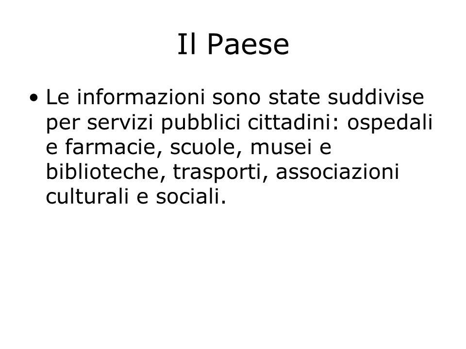 Il Paese Le informazioni sono state suddivise per servizi pubblici cittadini: ospedali e farmacie, scuole, musei e biblioteche, trasporti, associazioni culturali e sociali.