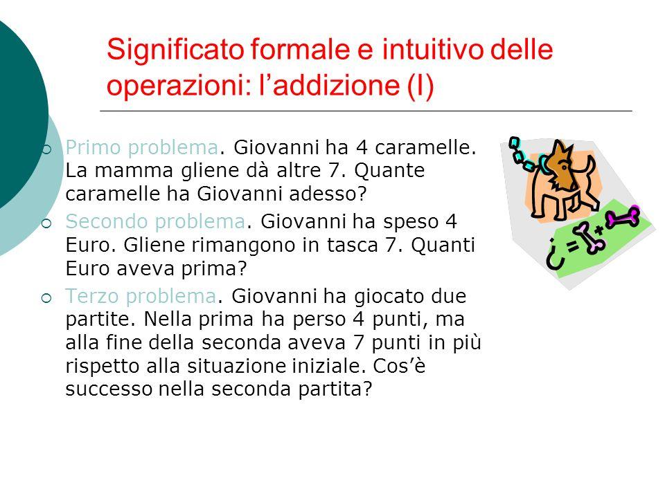 Significato formale e intuitivo delle operazioni: laddizione (II) Questi tre problemi hanno in comune: Il numero delle operazioni da eseguire; Il tipo di operazione da eseguire; Gli operandi; La soluzione.