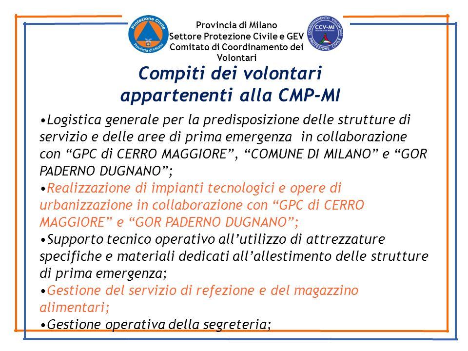 Provincia di Milano Settore Protezione Civile e GEV Comitato di Coordinamento dei Volontari Logistica generale per la predisposizione delle strutture