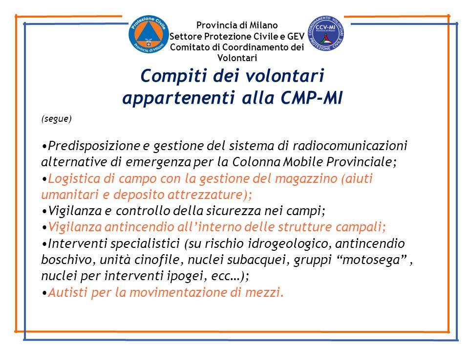 Provincia di Milano Settore Protezione Civile e GEV Comitato di Coordinamento dei Volontari (segue) Predisposizione e gestione del sistema di radiocom