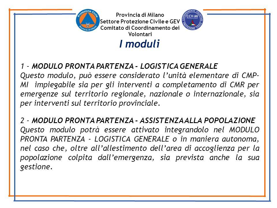 Provincia di Milano Settore Protezione Civile e GEV Comitato di Coordinamento dei Volontari 1 - MODULO PRONTA PARTENZA - LOGISTICA GENERALE Questo mod