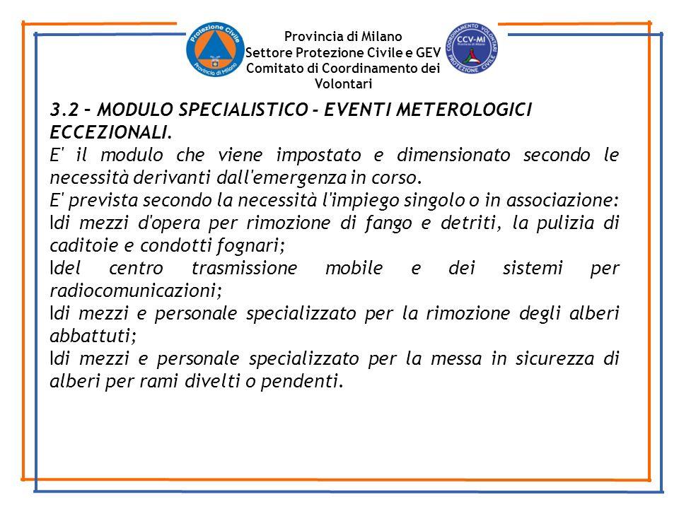 Provincia di Milano Settore Protezione Civile e GEV Comitato di Coordinamento dei Volontari 3.2 – MODULO SPECIALISTICO - EVENTI METEROLOGICI ECCEZIONALI.