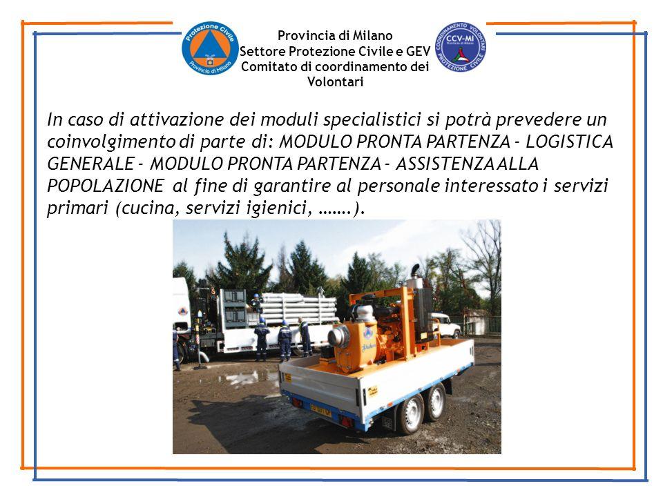 Provincia di Milano Settore Protezione Civile e GEV Comitato di coordinamento dei Volontari In caso di attivazione dei moduli specialistici si potrà p