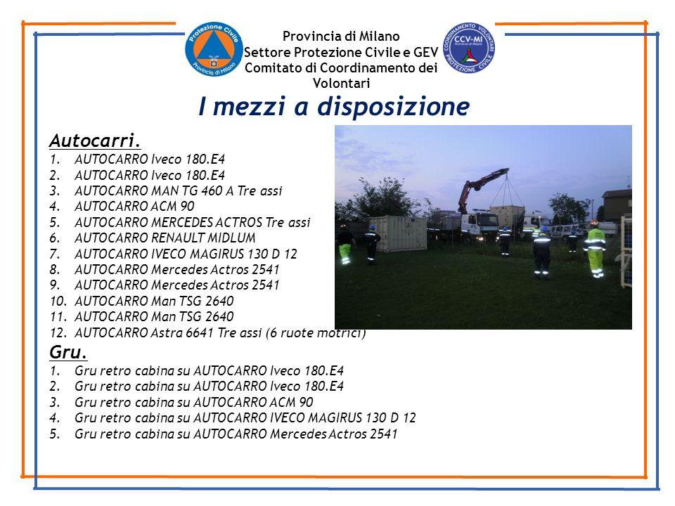 Provincia di Milano Settore Protezione Civile e GEV Comitato di Coordinamento dei Volontari Autocarri. 1.AUTOCARRO Iveco 180.E4 2.AUTOCARRO Iveco 180.