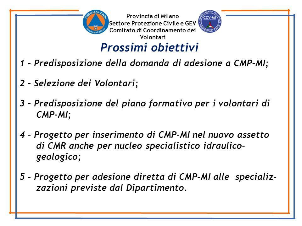 Provincia di Milano Settore Protezione Civile e GEV Comitato di Coordinamento dei Volontari 1 – Predisposizione della domanda di adesione a CMP-MI; 2