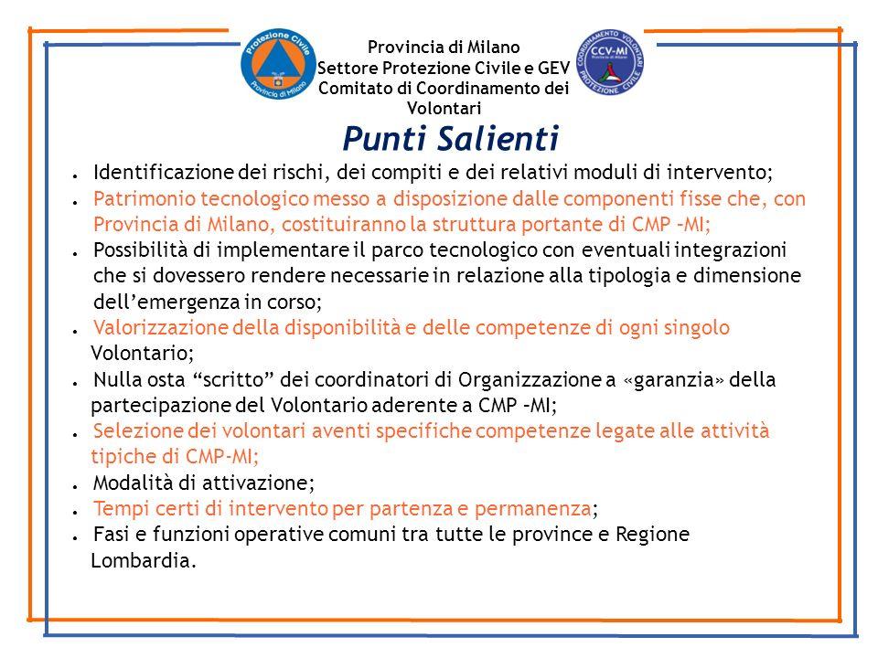 Provincia di Milano Settore Protezione Civile e GEV Comitato di Coordinamento dei Volontari Identificazione dei rischi, dei compiti e dei relativi mod