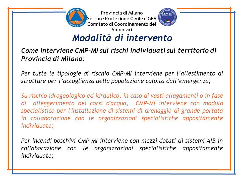 Provincia di Milano Settore Protezione Civile e GEV Comitato di Coordinamento dei Volontari Come interviene CMP-MI sui rischi individuati sul territor