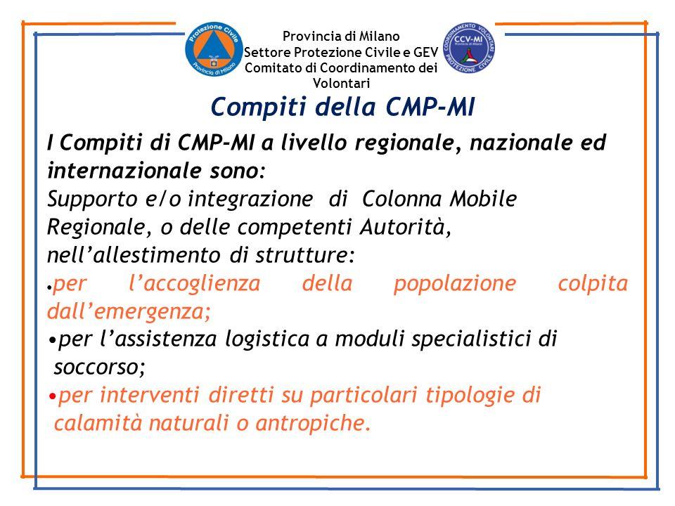 Provincia di Milano Settore Protezione Civile e GEV Comitato di Coordinamento dei Volontari I Compiti di CMP-MI a livello regionale, nazionale ed inte
