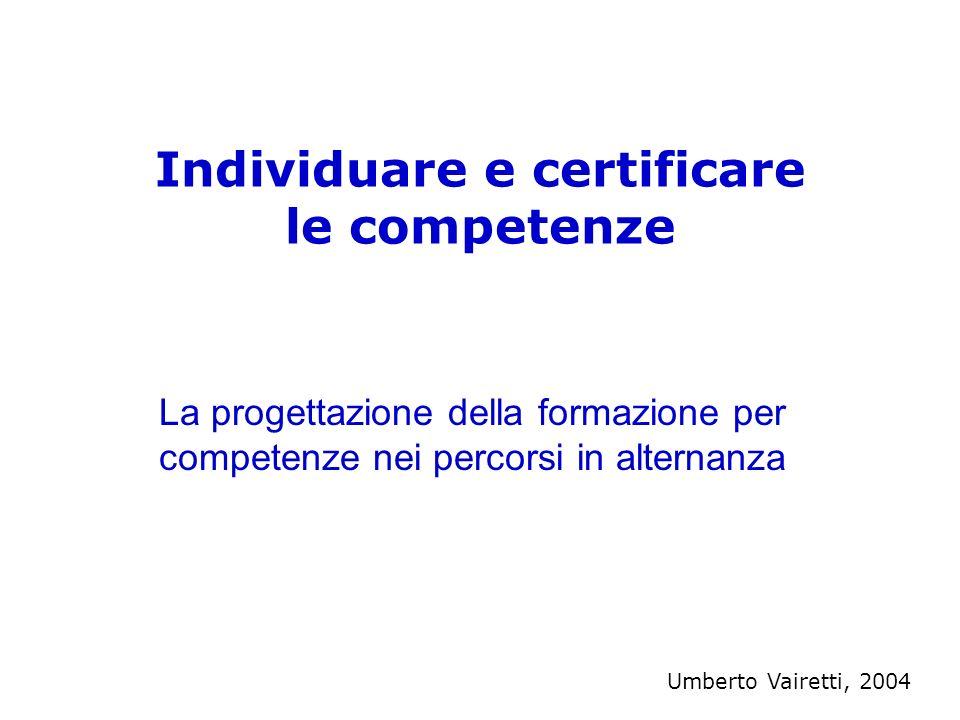 Individuare e certificare le competenze La progettazione della formazione per competenze nei percorsi in alternanza Umberto Vairetti, 2004
