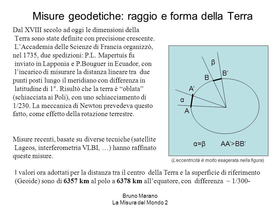 Bruno Marano La Misura del Mondo 2 Misure geodetiche: raggio e forma della Terra Dal XVIII secolo ad oggi le dimensioni della Terra sono state definit
