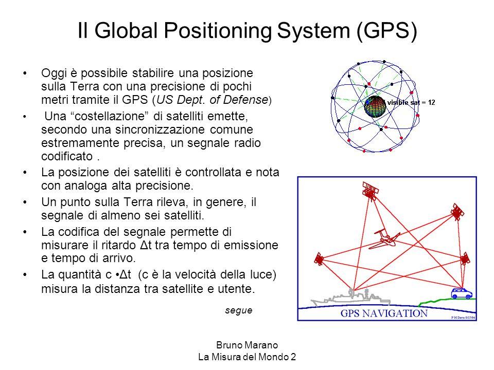 Bruno Marano La Misura del Mondo 2 Il Global Positioning System (GPS) Oggi è possibile stabilire una posizione sulla Terra con una precisione di pochi