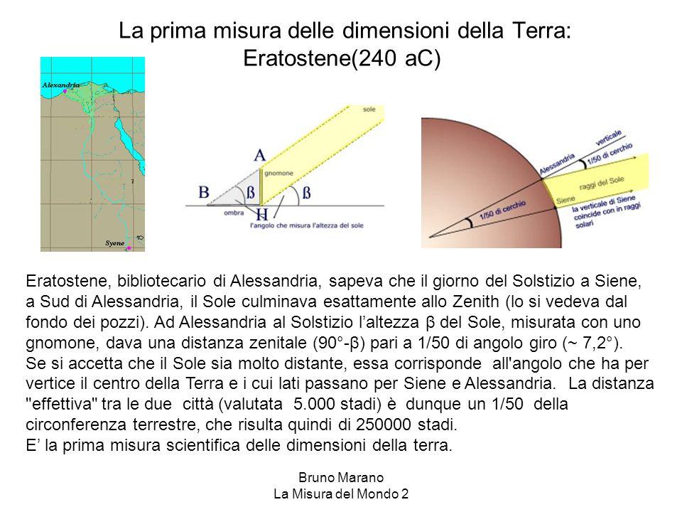 Bruno Marano La Misura del Mondo 2 La prima misura delle dimensioni della Terra: Eratostene(240 aC) Eratostene, bibliotecario di Alessandria, sapeva c
