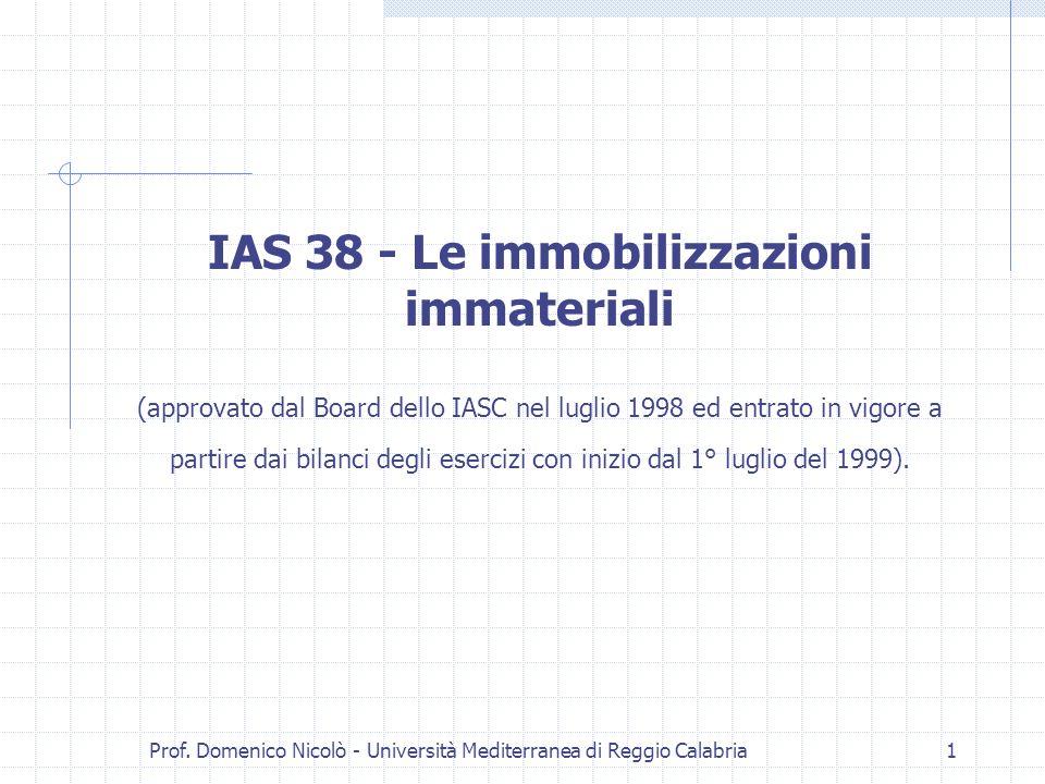 Prof. Domenico Nicolò - Università Mediterranea di Reggio Calabria1 IAS 38 - Le immobilizzazioni immateriali (approvato dal Board dello IASC nel lugli